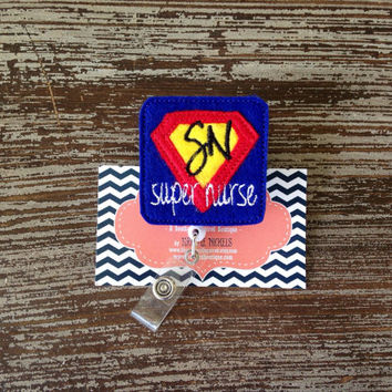 Nurse Badge Reel - Super Nurse - Superman - Retractable Badge Reel Nurse Name Badge - Badge Reel- Nurse Badge Holder - Felt Badge Reel Gift