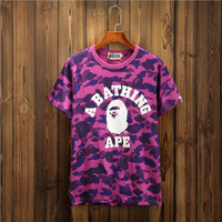 Summer Unisex Bape Cotton Tee Round-neck Short Sleeve T-shirts