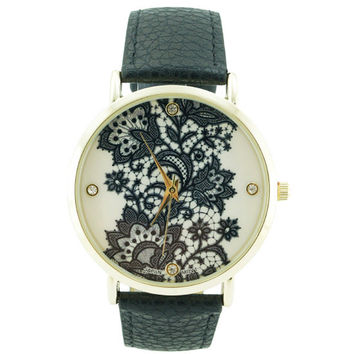 Lace Print Watch - Black