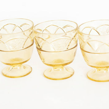 Vintage Federal Rosemary Sherbet Cups, Yellow Dessert Sugar Bowls, Dutch Rose Topaz Depression Glass (SET of 3)