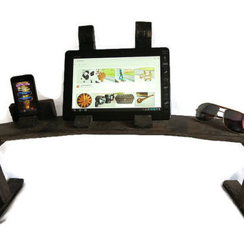 Wooden stand for the tablet and iPhone bed furniture.