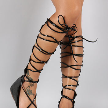 Lace Up Gladiator Knee High Thong Flat Sandal