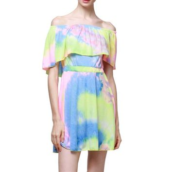 2019 Fashion Hot Rainbow Color Casual Women Lady Sleeveless Vest Mini Dresses Summer Beach Party Loose Straight Dress Vestidos