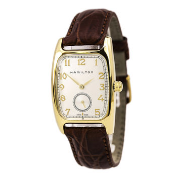 Hamilton H13431553 Men's Boulton Silver Dial Yellow Gold Plated Steel Brown Leather Strap Watch
