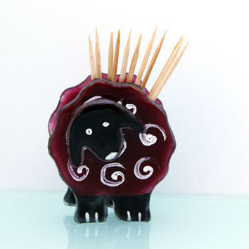 Toothpick Holder, Fused Glass  Red  sheep by virtulyglass