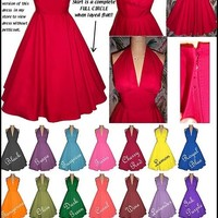 Beautiful Lt Wt Cotton Halter Dress...Your CHOICE Colors...Summer Cool...Bridesmaids, Prom, Wedding, Cocktails, Party, Day to Evening...