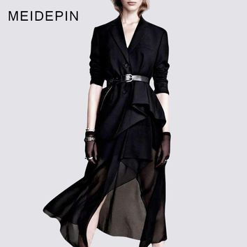 Business Lady Formal Skirt Suits ing Blazer Asymmetric Skirt Black Workwear Twin Set Outfits