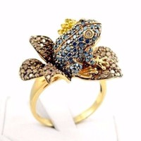 14k Gold Pave Set 2.00ctw Blue Champagne Yellow Diamond Frog & Lily Flower Ring