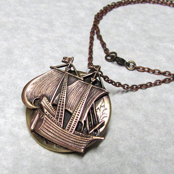 Pirate Ship Nautical Locket by ranaway on Etsy