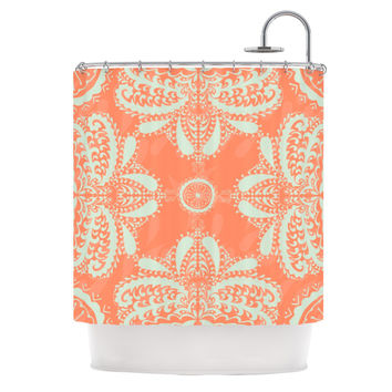 "Nandita Singh ""Motifs in Peach"" Orange Floral Shower Curtain"
