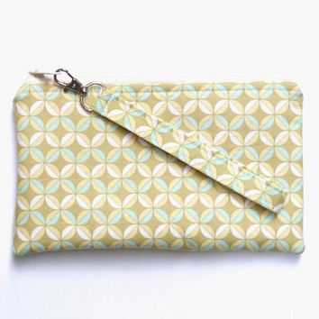 Spring Green Wristlet, Geometric Pattern, Lime Green, Avocado Olive Green, Modern Large Clutch Purse, Boho Purse, Spring Fashion,