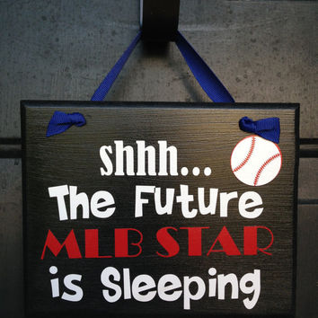 Future MLB Player Sleeping Door Sign Custom Door Sign Funny Boy's Room Door Sign Be Quiet Sleeping Sign Texas Rangers Fan Door Sign