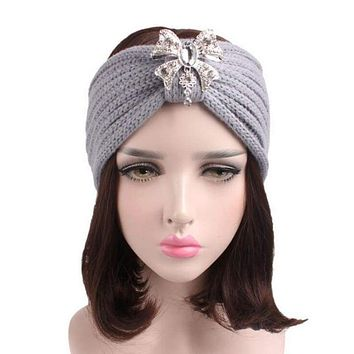 Women Knit Warm Headband Rhinestone Pendant Ear Warmer Hair Accessories