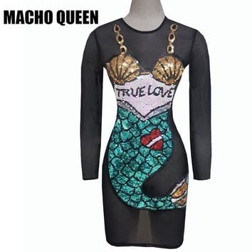 Summer Musical Festival Rave Dress Clothes Outfits  Costumes Women Black Mesh Harajuku Bodycon Dress Mermaid Sequin  Boho  Dress