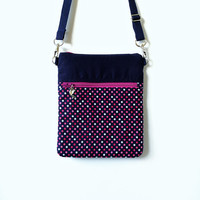 Sling bag Crossbody Pink Polka Sling Bag, Pink Polka Crossbody bag, Navy Blue Sling bag