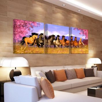 3 Panel Canvas Painting Horse Canvas Print Art Modern Home Decor Wall Art Picture For The Living Room O0703