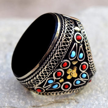 Black Onyx Stone,Afghan Kuchi Ring,Tribal Beaded Ring,Carved Ethnic Ring,Boho Jewelry,Festival,Big Bohemian Ring,Hippie Ring,Boho Gypsy Ring