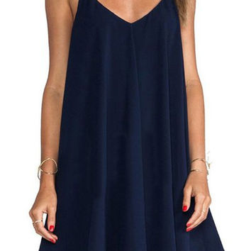 Deep Blue Spaghetti Strap Flounced Dress