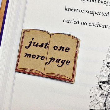SET OF 4 Just One More Page Magnetic Bookmarks: open book back to back bookmarks with magnet
