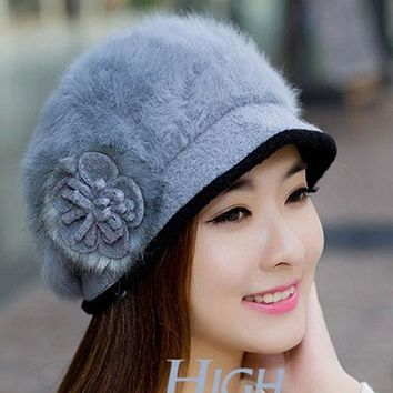 PEAPUNT women Rabbit hair hats 2016 new Korean version of the same paragraph autumn winter hat lady flower solid wool knitted mesh