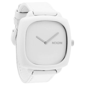 Nixon A167100 Women's The Shutter White Dial White Leather Strap Watch