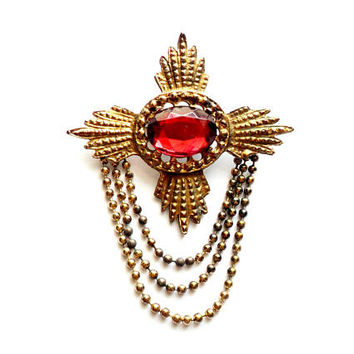 Vintage Rhinestone Chain Brooch Medal Regal Heraldic Edwardian Revival Cross Gold Tone Ball Chain Red Rhinestone