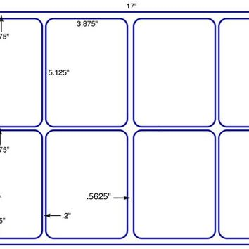 US5438-3.875'' x 5.125'' - 8 up label on a 11'' x 17'' sheet