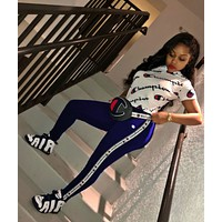 '' Champion '' Fashion Casual Multicolor Pattern Letter Print Short Sleeve Set Two-Piece Sportswear