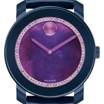 Women's Movado 'Bold' Crystal Dial Patent Strap Watch, 42mm - Navy Blue/ Purple