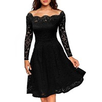 Womens Swing Dresses Long Sleeves Lace Off The Shoulder Gown Celebrity Party Dress
