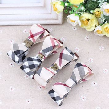 Brand Plaid Cloth Women Hair Clips Barrette Hairpin Accessories Girls Hair bands butterfly design Baby bowknot hair ropes