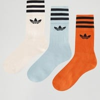 adidas Originals Multi 3 Pk Trefoil Logo Crew Socks at asos.com