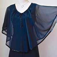 1970's Black Maxi Dress With Chiffon Cape Edged in Sequins - Evening Dress - 70's Cocktail Dress