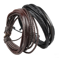 Fashion US Lace-up Leather Wrap Leather Bracelets & Bangles Black And Brown Braided Rope Fashion Man Jewelry For Men And Women