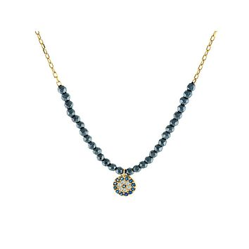 Eye of Evil Necklace with Hematite Stones: Sterling Silver, 16-18 Inches