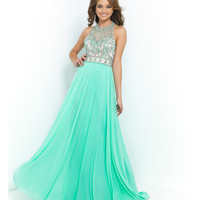 Blush Prom 9958 Mint Green Beaded Halter Illusion Bodice Open Back Chiffon Gown