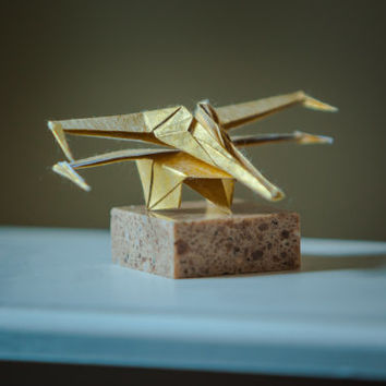 Sculpture Star Wars X-Wing Fighter Origami Copper Float on Stone Original Handcrafted Original STARWARS miniature