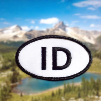"Idaho ID Patch - Iron or Sew On - 2"" x 3.5"" - Embroidered Oval Appliqué - The Gem State - Black White Hat Bag Accessory Handmade USA"