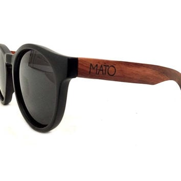 Mato Handmade Eco-friendly Wooden Sunglasses with Bamboo Handle Erika Round Shaped Unisex Polarized Sunglasses Charcoal Lens