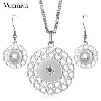 10pcs/lot Stainless Steel Ginger Snap Button Jewelry Set 18mm Pendants Necklace and 12mm Earrings NN-625*10