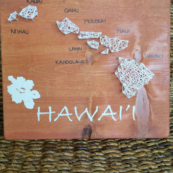 Hawaii State Map String Art Plaque, Shelf or Wall Mount Sign, Hawaiian Home Decor, Hibiscus Flower Design, Hand Painted Hawaii Made to Order