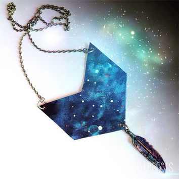 Galaxy Chevron Necklace Leather Diffuser Necklace Galaxy Jewelry Bohemian Jewelry Feather Necklace