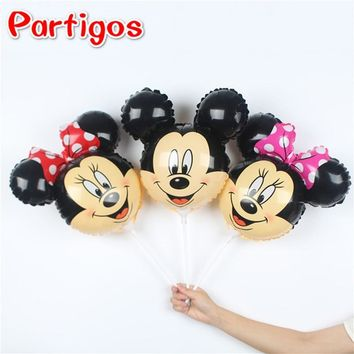 100pcs 14.5inch Mickey Minnie Stick Foil Balloons Baby Shower Birthday Party Kids Mickey Mouse Toys Air Hand Sticks Ballon Decor