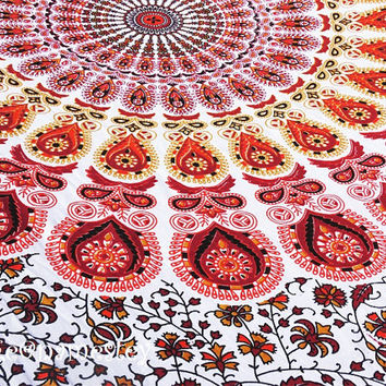 Mandala Red Indian tapestry,Bohemian tapestry,Beach Throw,Indian tapestry,Dorm room Tapestry,Hippy Mandala Twin Tapestry