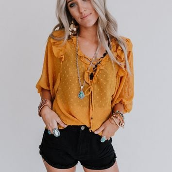 One Chance Pom Pom Ruffle Top - Mustard