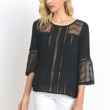 Flowing Lace Accent Blouse