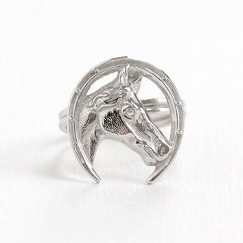 Vintage Sterling Silver Horse Ring - Retro Hallmarked Beau Adjustable Goodluck Horseshoe Statement Jewelry