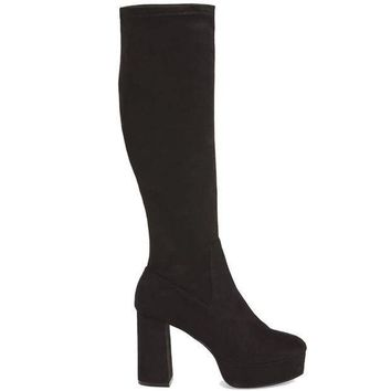 Chinese Laundry Nancy   Black Suede Tall Platform Boot