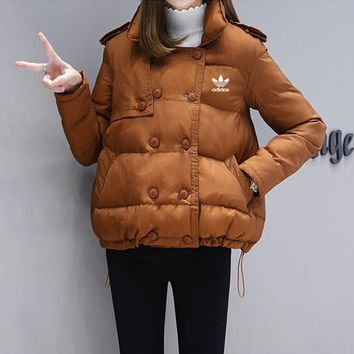 """Adidas"" Women Casual Fashion Solid Color Show Thin Double Row Buckle Long Sleeve Cotton-padded Clothes Coat"