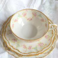 Antique Limoges/Theodore Haviland/France/Barney Company/Tea Cup and Saucer - Circa 1950's